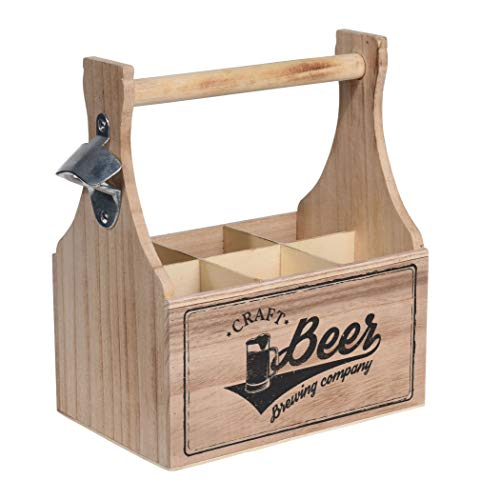 Spetebo Holz Flaschenträger Beer inkl. Flaschenöffner - 6 Flaschen - Bierträger Flaschenkorb Flaschenhalter Tragekiste