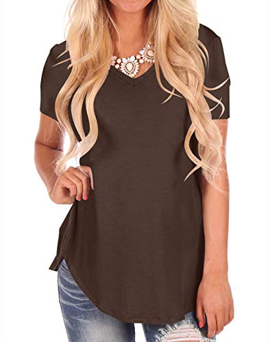 NIASHOT Womens Tunic Tops Short Sleeve Loose Casual Tunic Shirts Coffee M