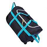 CAMPMOON Folding Wheeled Rolling Duffle Bag for Camping Travel, Lightweight Large Duffel Bag with Wheels and Pull Handle , Blue, 26 Inch
