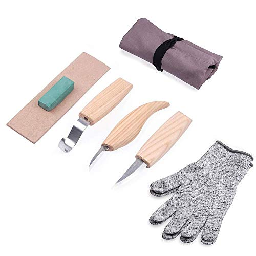 Wood Carving Tools Set+Cut Resistant Gloves, Spoon Carving Hook Knife