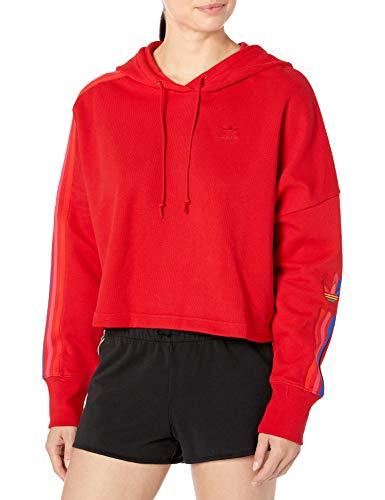 adidas Originals Sudadera con capucha recortada con trébol 3D para mujer - rojo - S