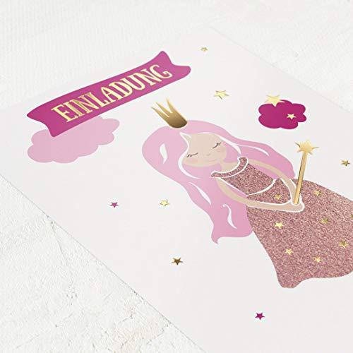 sendmoments Einladung zum Kindergeburtstag, Prinzessinnen & Feen, 5er Karten-Set, für Kinder, mit vorgefertigtem Lückentext zum kinderleichten Ausfüllen, Karten mit Goldfolienveredelung