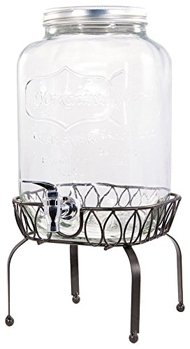Circleware Yorkshire Mason Jar Beverage Drink Dispenser with Metal Stand, 2 gallon, Clear