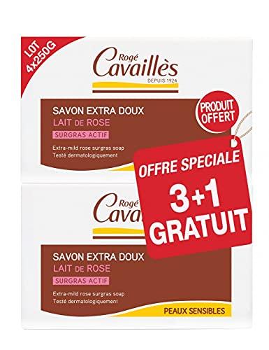 Rogé Cavaillès Savon Surgras Extra-Doux Lait de Rose Lot de 3 x 250 g + 1 Gratuit