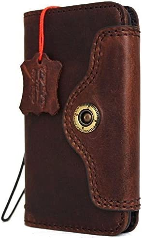 Genuine Vintage Natural Leather Case for iPhone Book Max 62% OFF Apple Wal Bargain 7