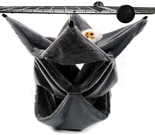 LeerKing Gnagare Hängmatta Hamster Hamsterhängande Säng Sover Bekvämt Bo med 3 Lager av Geometric Labyrinth för Små Djur Råtta Ekorre att Dpela och Sova, Mörkgrå