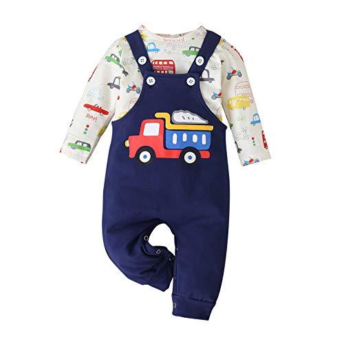 Conjunto de Pantalones de Tirantes con Estampado de Coche de Dibujos Animados para Bebé Conjunto de Mono Adorable para Bebé Niño(80(9-12Months),Blue)