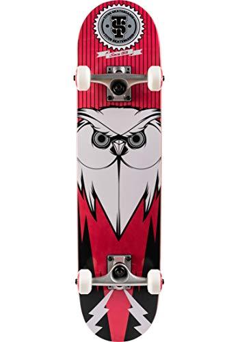TITUS Complete-Board Blackbird Owl, Black-red-White, 7.5, Komplett Board, 7 Schichten Ahornholz, bereits fertig montiert, Skateboard für Jugendliche, Erwachsene, Anfänger, Profis, Mädchen und Junge