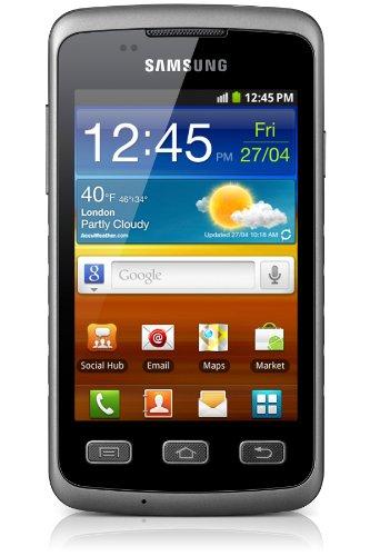 Samsung Galaxy Xcover S5690 Smartphone (9,27 cm (3,65 Zoll)  TFT-Touchscreen, Android 2.3, Schutz vor Stößen/Wassser/Staub, Taschenlampe) titan-grau