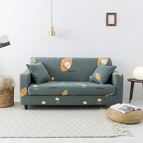Funda de sofá de 3 Plazas Funda Elástica para Sofá Poliéster Suave Sofá Funda sofá Antideslizante Protector Cubierta de Muebles Elástica Patrón Verde Oscuro Funda de sofá