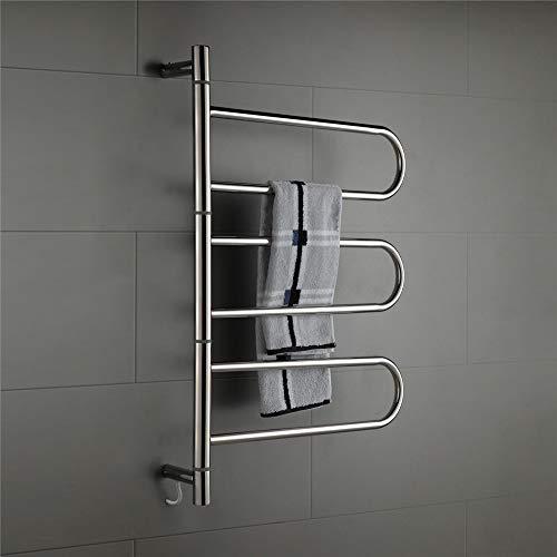 ZJINHUI Elektrischer Handtuchhalter aus Edelstahl 304, 6-Stab-Handtuchheizkörper, 60 W, 180 ° drehbarer Handtuchheizkörper, IP55, wasserdicht,Pluginwiring