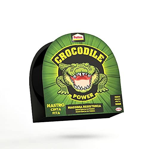 Pattex Crocodile Power Tape, Potente Nastro Adesivo Telato 2 Volte Più Spesso, Nastro Extra Forte Nero per Riparazioni, Nastro Adesivo per Molti Materiali, 30M X 50 Mm