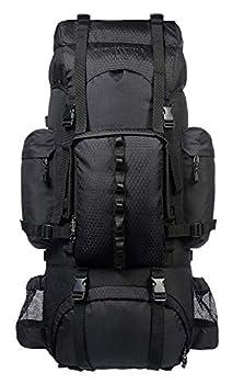 Amazon Basics Sac à dos de randonnée à armature intérieure avec housse de pluie, 65 L, Noir