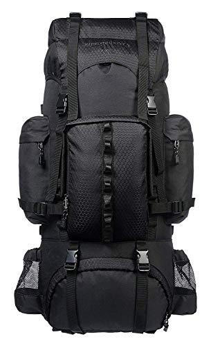 Amazon Basics - Wanderrucksack mit Innengestell und Regenschutz, 65 L, Schwarz