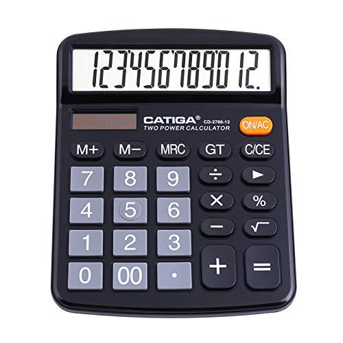 Calcolatrice da tavolo a 12 cifre con ampio display LCD e pulsante sensibile, doppia alimentazione solare e batteria, funzione standard per ufficio, casa, scuola, CD-2786 (Nero)