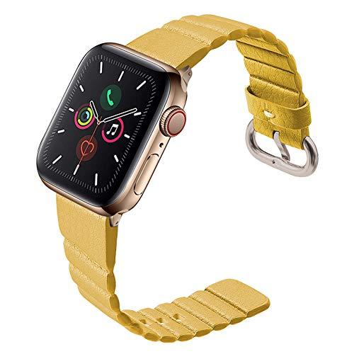 LUONE Sport Uhrenarmbänder, kompatibel mit Apple-Uhr 2/3/4/5 Uhrenarmband-Leder-Uhr-Armband Einkanalregler Taste Ersatz-Armband,Gelb,42mm