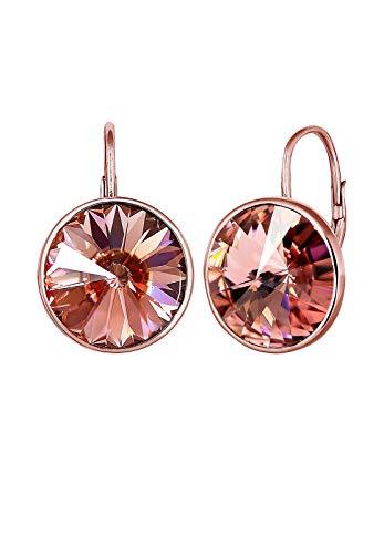Elli Orecchini da donna, stile glamour, con cristalli, in argento sterling 925 placcato oro rosa