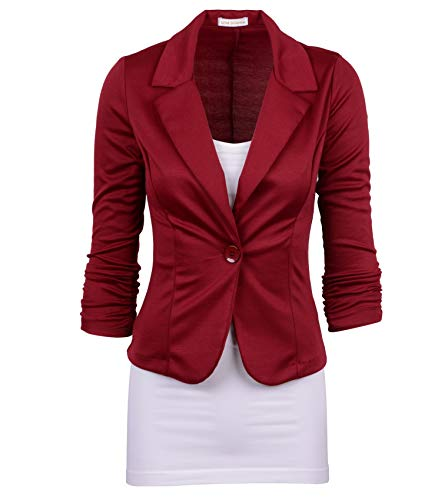 Auliné Collection Women's Casual Work Solid Color Knit Blazer Burgundy 3X
