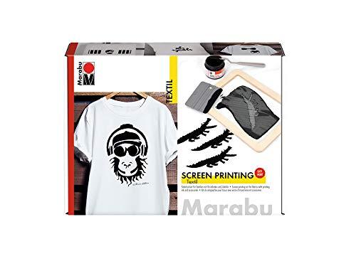 Marabu 1703000000082 - Textil Screen Printing Set, Siebdruckset für helle und dunkle Textilien mit 100 ml Druckfarbe in schwarz, einem Siebrahmen, einem Rakel und einem Malmesser
