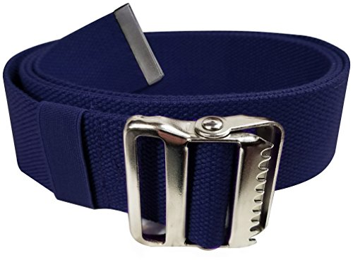 """LiftAid Walking Gait Belt and Patient Transfer with Metal Buckle and Belt Loop Holder for Nurse, Caregiver, Physical Therapist (Navy Blue, 60"""")"""
