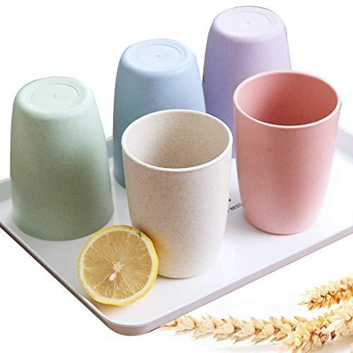 4 vasos de trigo para dientes, tazas de plástico, vaso creativo para lavar, para baño, viajes, oficina, dormitorios, hoteles