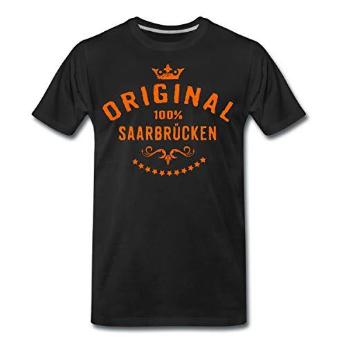 Saarbrücken Rahmenlos® Städte Männer Premium T-Shirt, 5XL, Schwarz