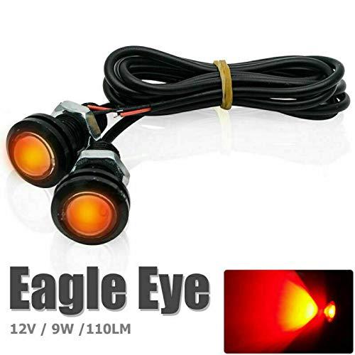 Luces de ojo de águila, LanCo 2PCS 12V 9W 110 Lm 8000-10000K Coche Motocicleta LED Eagle Eye Luces de circulación diurna DRL Luz trasera Luz de marcha atrás Roja