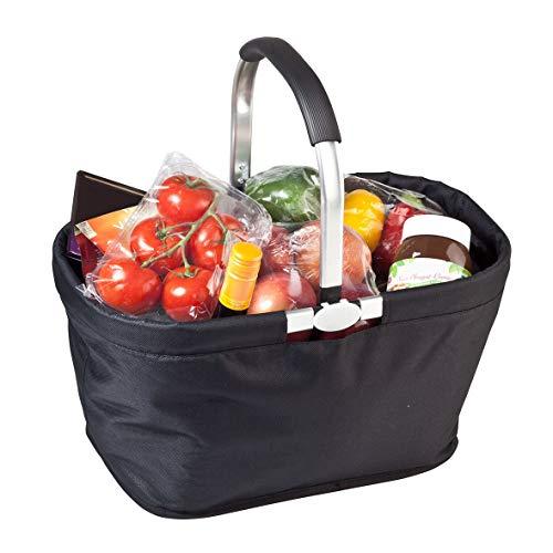 Carryking Faltbarer Einkaufskorb schwarz mit Aluminiumgriff Geräumige und Stabile Einkaufstasche 30 Liter Füllvolumen