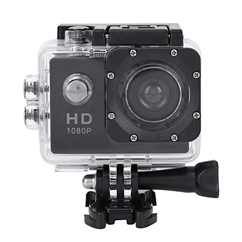 Garsent Action Camera, LCD TFT da 2,0 Pollici Full HD 1080P Impermeabile 30m Telecamera Sportiva Supporto TF Card 32GB, 140 ° grandangolo con batterie Ricaricabili 900mAh (Nero)