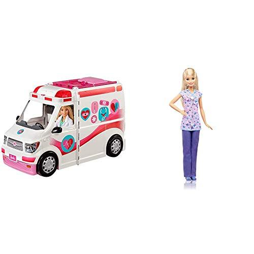 Barbie FRM19 - 2-in-1 Krankenwagen, aufklappbares Fahrzeug mit Licht und Geräuschen, Puppen Spielset mit Zubehör & Barbie DVF57 - Ich wäre gern Krankenschwester Puppe, Ankleidepuppen-Zubehör
