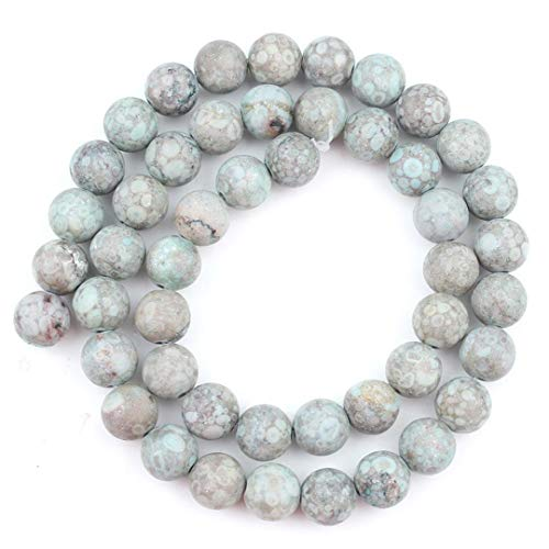 Natural Matte Frosted Jaspers Agates Jades Quartz Turquoise Stone Round Spacer Bead For Jewelry Making DIY Accessory Cyan Flower Jasper 8mm (approx 46pcs)