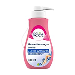 Veet Sensitive Hair Removal Cream - Snabb & Effektiv hårborttagning för silkeslen hud - Appliceringstid 5-10 Minuter - 400 ml Dispenser med spatel