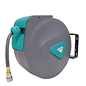 HENGMEI 20m Manguera de aire comprimido Carrete de manguera de aire Automático de Aire Comprimido