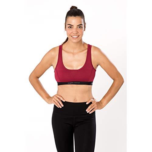 super.natural Damen Sport-BH, Mit Merinowolle, W SEMPLICE BRA 220, Größe: XL, Farbe: Bordeaux