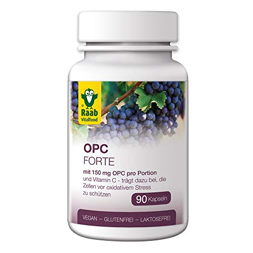 Raab Vitalfood OPC Forte Kapseln, 90 Stück, laborgeprüft, vegan & glutenfrei, Oligomere Proanthocyanidine aus Traubenkernen, rückstandgeprüft, Extrakt