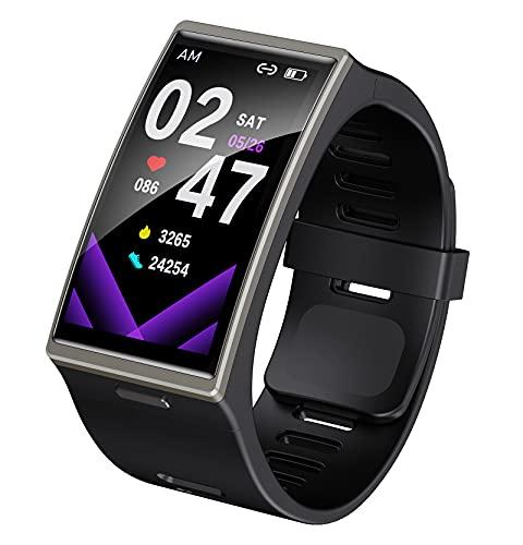 QFSLR Smartwatch Fitness Tracker con Monitor De Frecuencia Cardíaca Monitor De Presión Arterial Seguimiento del Sueño Reloj Deportivo Monitores De Actividad Podómetro,Negro