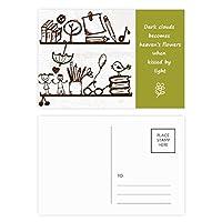 子供たちのかわいいイラストの本棚大学 詩のポストカードセットサンクスカード郵送側20個