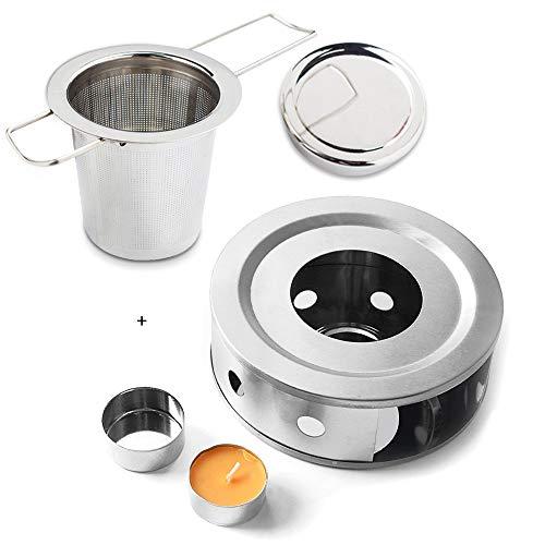 Gwolf Scalda teiera Candela, Scaldino teiera con portacandele Design a Cornice Cava, infusore per tè, Filtro in Acciaio Inossidabile Filtro più ripido con Manico Pieghevole per Fogli Sciolti