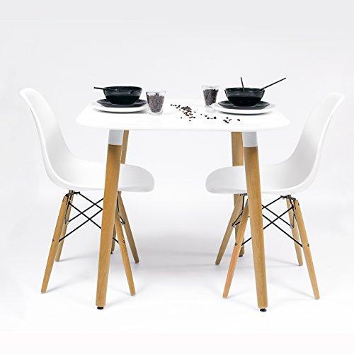 Homely - Conjunto de Cocina-Comedor de diseño nórdico-Scandi NORDIK-80, con Mesa lacada Blanca y 2 sillas Tower (Blanco)