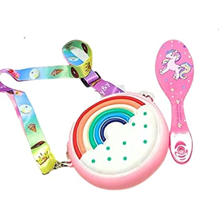 GoMerryKids Combo of Unicorn Bag Rainbow Bag for Girls Silicon Sling Bag for Girls with Unicorn Hairbrush Hair Comb