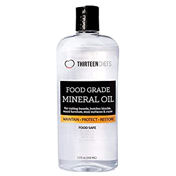 Thirteen Chefs Mineral Oil for Cutting Board - 12 Oz Food Grade Conditioner to Clean Butcher Block Countertop - Lubricant for Kitchen Knife Meat Grinder