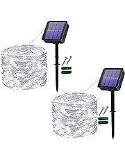 [2 stuks] Usboo® lichtsnoeren op zonne energie, 150 koudwitte LEDs 15 meter voor buiten & binnen met waterdichte koperdraden voor decoraties, feesten, tuin, balkons, feesten, bruiloften, camping, etc.