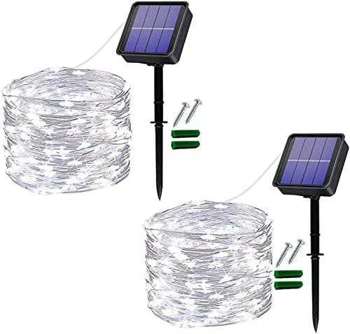 [2 piezas] Usboo® guirnaldas luces solares, 150 LEDs blancos fríos de 15 M para exterior e interior con cables de cobre impermeables para deco, celebraciones, jardín, balcones, fiestas, bodas, etc