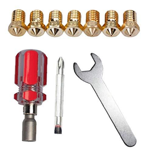 3D sostituzione degli ugelli della stampante Tool Set Spanner 0.2mm 0.3mm 0.4mm 0.5mm 0.6mm 0,8 millimetri J-Head E3D V5 V6 strumento fornisce gli accessori