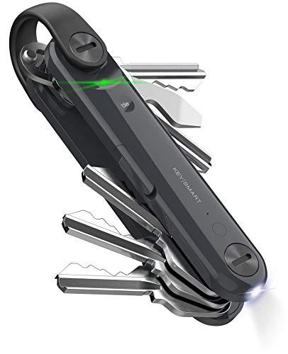 KeySmart Max - Smart Trackable Key Organizer with Tile Bluetooth Smart Technology, Flashlight and MultiTool (up to 14 Keys, Steel Gray)