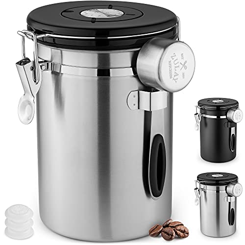 Zulay 21oz Coffee Canister For Ground Coffee - Stainless Steel Coffee Canisters With Scoop Holder & Date Tracker - Airtight Coffee Container & Coffee Storage For Coffee Jar, Tea, Sugar, Flour (Silver)