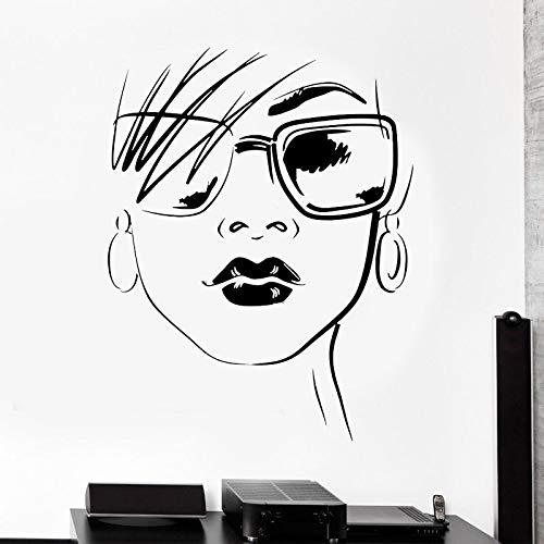 Gafas de moda hermosas chicas pegatina de pared salón de belleza maquillaje ventana calcomanías murales extraíbles decoración de interiores A3 57x73cm