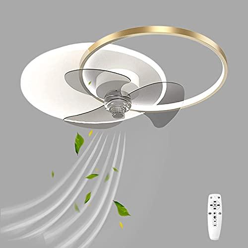 DULG 48W Ventiladores de Techo para Sala de Estar Luz Regulable LED Control Remoto Ventiladores de Techo Lámparas Creatividad Inteligente Diseño de Doble Anillo Ventilador silencioso de Metal Moderno