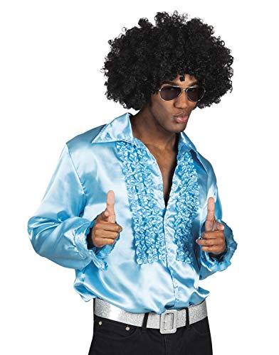 Boland 02157 - Party Shirt, türkis, L / 50-52, Spitzkragen, Knopfleiste, Rüschen, glänzend, Hemd, 70er, Disco, Flower-Power, Karneval, Halloween, Fasching, Mottoparty, Verkleidung, Theater