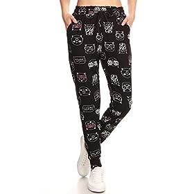 Leggings Depot JGA-R723-L Cute Cat Print Jogger Pants w/Pockets, Large